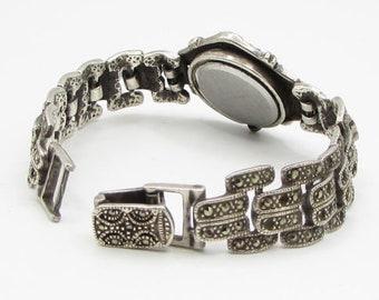 925 sterling silver - vintage marcasite watch bracelet - t1004