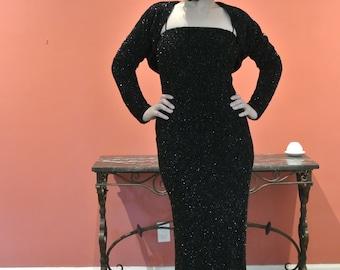 Vintage black floor length sheath dress and bolero size 4