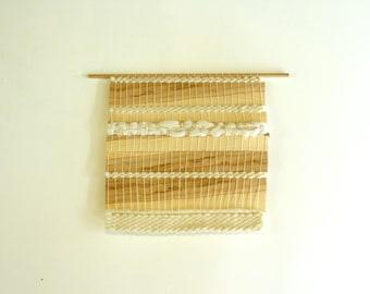 Tenture murale tissée collection Forest / Tissage de bois d'érable et de laine mérinos/boho