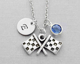 Race Flags Necklace, Flag Necklace, Car Races Jewelry, Car Driver, Swarovski Birthstone, Silver Initial, Personalized Monogram, Hand Stamped