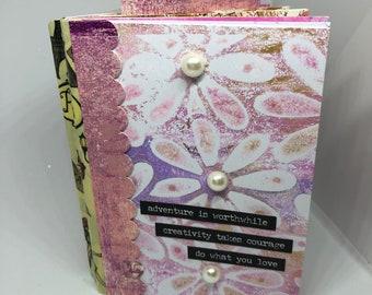 Mixed Media Journal,  Handmade journal, Gelli Print Pages, art Journal, Scrapbook, Mini art Journal, Mixed Media pages, Mixed Media, ETC