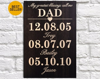 Fathers day gift Fathers day gift from son Wood sign Personalised Gift for Fathers day gift from daughter gift for Dad gift Panel effect art