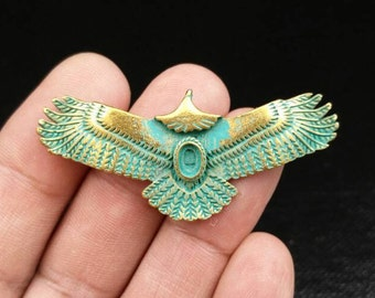 Eagle Pendant 55x24 mm. Antique Design Gold Patina Vintage Style Flying Eagle Jewelry Gothic Punk Boho Gypsy Hippie Eagle Sweater Necklace.