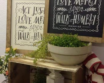 Hand Painted Wood Sign   Act Justly Love Mercy and Walk Humbly   Micah 6:8