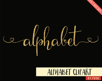 Gold glitter alphabet clip art, golden swasches, alternative letters, hearts, gold sparkle digital alphabet, download