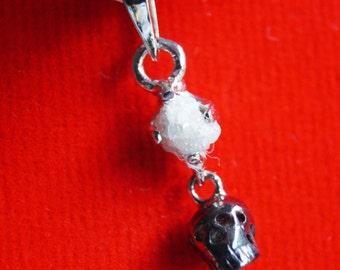 0.70 cts Gray rough diamond pendant, White rough diamond Pendant, raw diamond pendant, uncut diamond necklace, rustic diamond Skull pendant