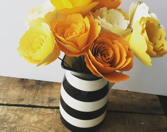 Cream, Yellow, and Goldenrod Paper Roses - Centerpiece - Yellow Flower Arrangement