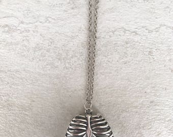 Silver Ribcage Necklace - Skeleton Bones