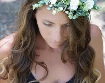White flower crown, flower crown wedding, bridal floral crown, flower girl crown, ivory floral headband