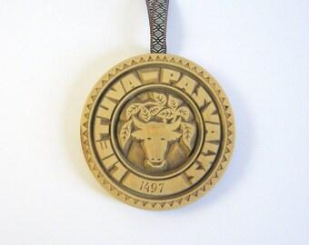 Vintage Carved Wood Plaque - Pasvalys Lietuva Coat of Arms - Bull Wall Decor - European Folk Art - Lithuanian Souvenir - Wood Medallion Art