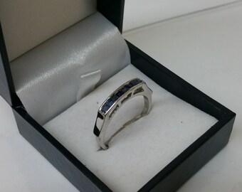 19.3 mm Silver ring 925 sapphires elegant rar SR734