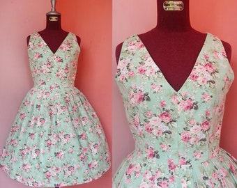 Green Floral Dress Women 50s Dress Pin Up Dress Prom Dress Tea Dress V Neck Dress Cotton Canvas Dress Pleated Dress Mini Dress Small Size 4