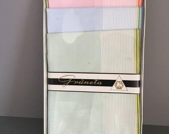 Ladies Swiss Cotton Handkerchiefs 3 Unused Hankies in NOS Boxed Grüneta handkerchief Boxed