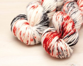 Hand dyed yarn, speckled yarn, worsted, superwash merino, wool yarn, grey, red, crimson, gray