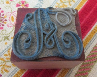 "Small antique French linens monogram embroidery stamp alphabet letter ""A"""