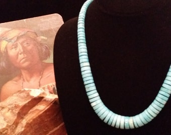 Beautiful Tapering Turquoise Flat Bead Necklace