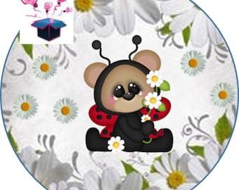1 cabochon clear 18 mm lady bug theme