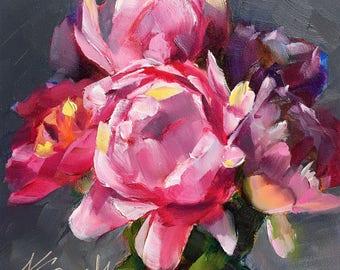 peony painting // oil painting // original peony painting // peonies // pink peonies // pink peony art // original peony art