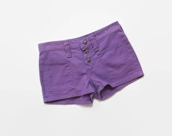 Vintage 60s Wrangler SHORTS / 1960s High Waisted Purple DENIM Hot Pants XS