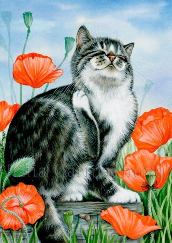 Getigerte Katze Druck Feld Mohn von Irina Garmashova
