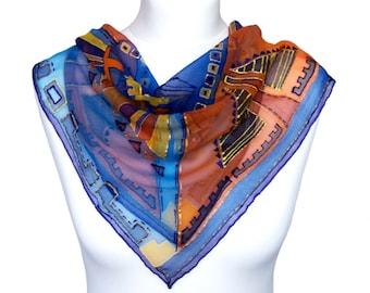 Painted scarf - Women boho scarf - Hand painted scarf - Blue boho scarf - Silk summer scarf - Lightweight scarf - Summer scarf idea