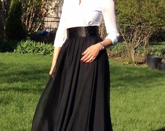 Chiffon Ball Skirt/Maxi Skirt, Wedding Skirt, bridesmaids skirt, Black Long Skirt