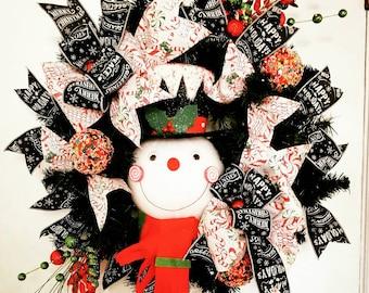 Snowman Wreath, Christmas Wreath, Evergreen Snowman Wreath, Door Decor, Snowman Decor, Christmas Decor, Holiday Decor, snowman Door Decor