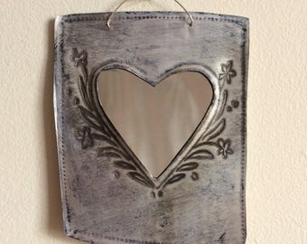 Small hand-stamped tin heart mirror