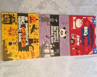 Ed Emberley's big orange,big purple,and big red drawing books.(from 1980,1981,19 87respectivle)vintage