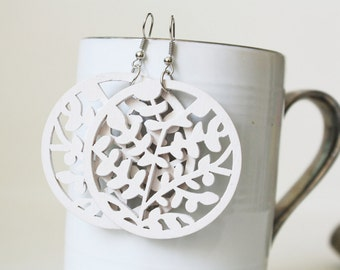 Buy 3 Get 1 FREE/ White little Leaves Laser Cut  ,Naturally Beauty from Wood.