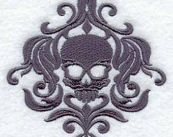 PAIR hand towels - damask skull - EMBROIDERED 15 x 25 inch