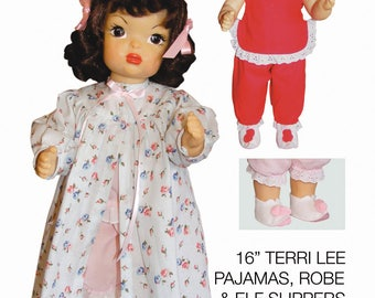 """Terri Lee Sewing Patterns for 16"""" Doll: Pajamas, Robe and Elf Slippers"""