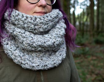 Oversized Chunky Cowl || The Cascade (Grey Tweed)