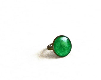 Metallic green ring / Resin bold ring / Antique bronze ring / Whimsical jewelry / Cute jewelry / Cool gift for her / FREE SHIPPING