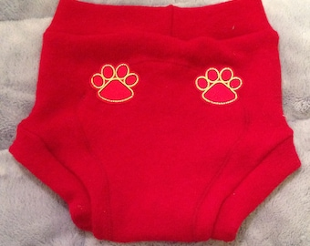 Large Red Paw Print 100% Wool Soaker Diaper Cover Shorties Double Layer Wet Zone