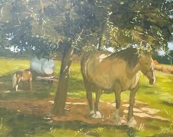 "Painting on canvas ""Horses to bridge mark"""