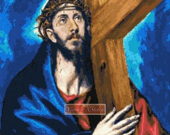 Christ carrying the cross by El Greco, Religious counted cross stitch kit