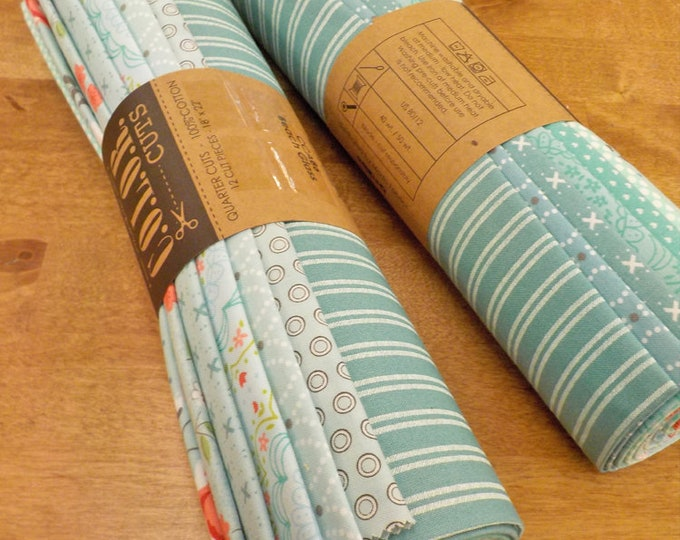 Color Cuts by Moda Fabrics...Beach Glass bundle, 12 fat quarters, factory cut, green and blue bundle