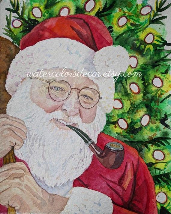 Original Santa Claus Watercolor Portrait St Nick Painting
