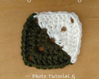 CROCHET PATTERN - 3 Inch Bi Colored Solid Granny Square the EyeLoveKnots Way Photo Tutorial, Crochet Two Tone, Crochet Two Colored