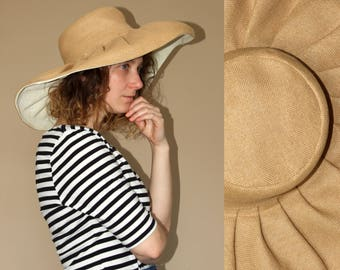 90's vintage braided straw sun garden hat