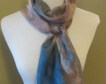 Hand dyed teal, brown, and marron silk scarf-