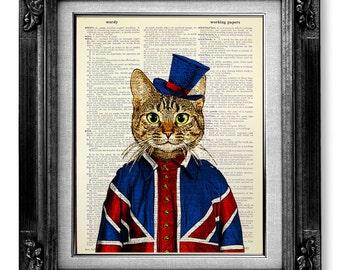 Tabby Cat Painting, British Decor, London Art, London Art Print, London Print, Union Jack Flag Poster, London Gift, British Flag Wall Decor