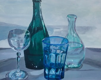Original Painting Glass Bottle Painting Realistic Artwork Acrylics art Green Bottle blue still life Wine Glass Kitchen Home decor wall art