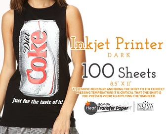 """Inkjet Iron-On Heat Transfer Paper, For Dark fabric, 8.5"""" x 11"""", 100 Sheets FREE shipping"""