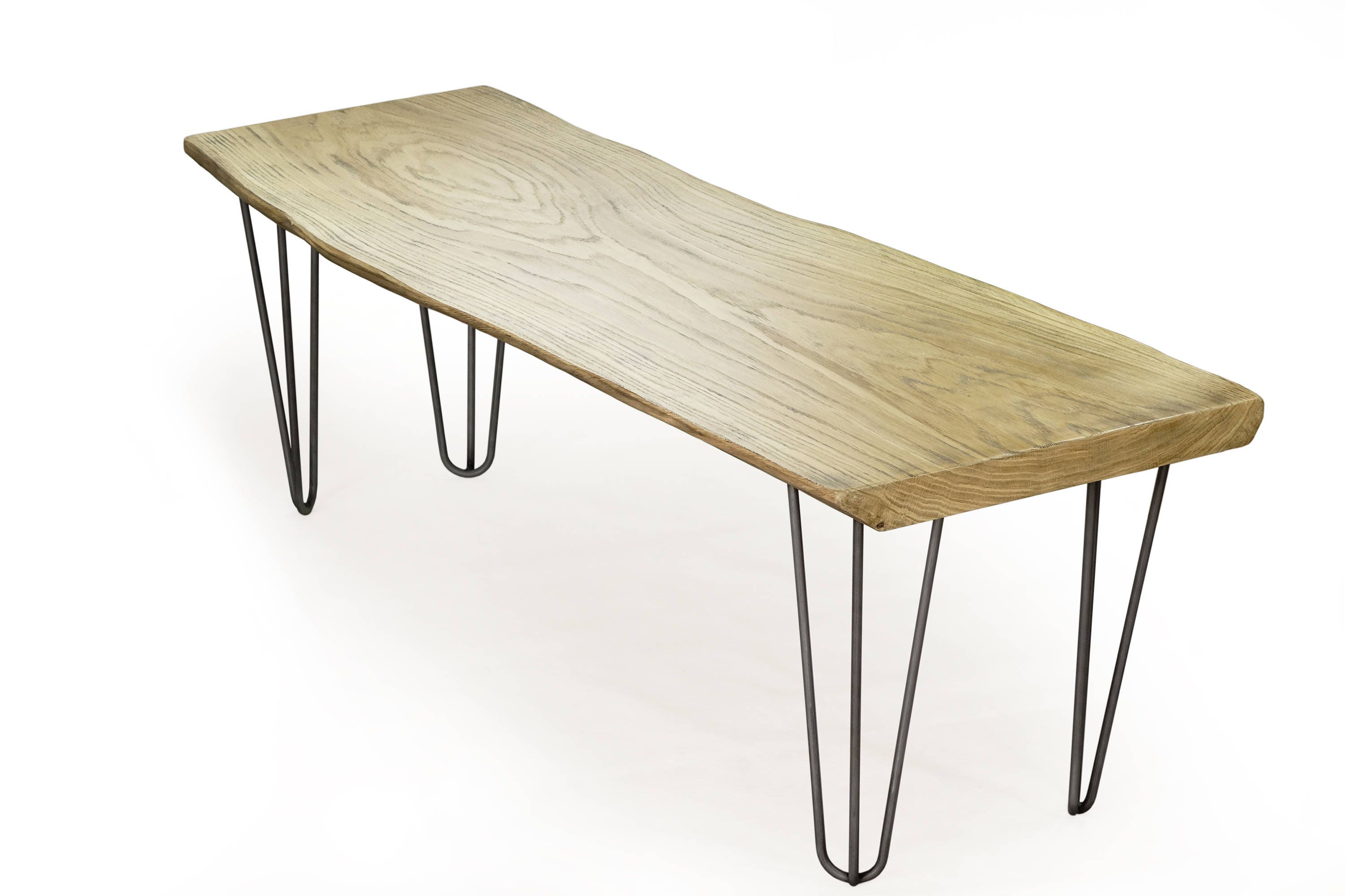 weathered oak table hairpin coffee table. Black Bedroom Furniture Sets. Home Design Ideas