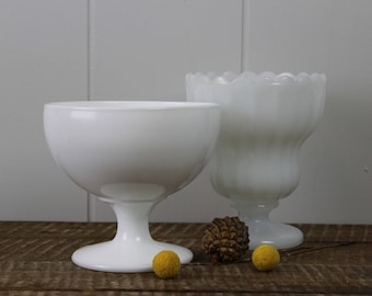 Milk Glass Goblets Set of 2