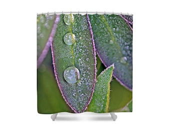 Leaf Shower Curtain, Green Shower Curtain, Water Drops Shower Curtain, Green Bathroom, Green and Purple, Green Decor,Bath Decor,Lupin Leaves