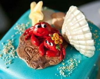 Wedding Cake Topper, Custom Polymer Clay Red Crabs in the Sand Wedding/Anniversary Keepsake