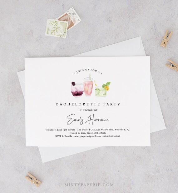 Printable Bachelorette Party Invitation Template, INSTANT DOWNLOAD, 100% Editable Text, DIY Cocktail / Drinks Hen Do Invite, Templett #119BP